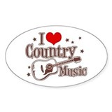 I Love Country Music Oval  Aufkleber