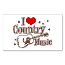 I Love Country Music Rectangle Decal