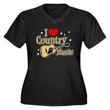 I Love Country Music Women's Plus Size V-Neck Dark