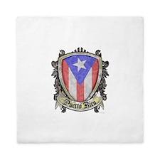 Puerto Rico Flag - Shield Crest Queen Duvet