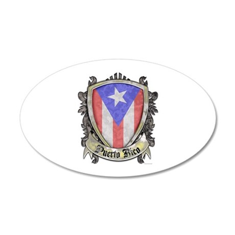 Puerto Rico Flag - Shield Cr 35x21 Oval Wall Decal