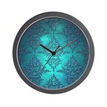 Teal Turquoise Fancy Floral Damask Pattern Wall Cl