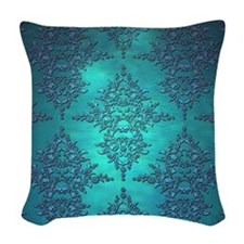 Teal Turquoise Fancy Floral Damask Pattern Woven T