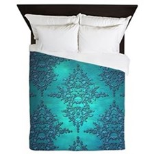 Teal Turquoise Fancy Floral Damask Pattern Queen D