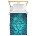 Teal Turquoise Fancy Floral Damask Pattern Twin Du