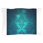 Teal Turquoise Fancy Floral Damask Pattern Pillow