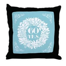 60th Anniversary Wreath Throw Pillow