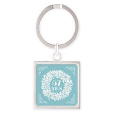 57th Anniversary Wreath Square Keychain