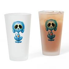 Blue Zombie Sugar Skull Puppy Drinking Glass