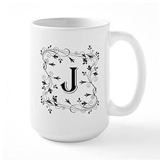 Letter J Leafy Border Mugs