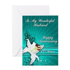 10th Anniversary card for a husband Greeting Cards