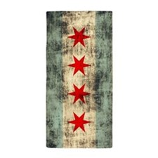 Grunge Chicago Flag Beach Towel