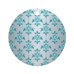 Teal Damask over Silvery Grey Ornament (Round)