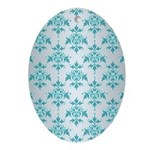 Teal Damask over Silvery Grey Ornament (Oval)
