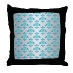Teal Damask over Silvery Grey Throw Pillow