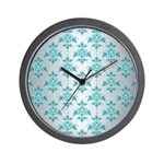 Teal Damask over Silvery Grey Wall Clock