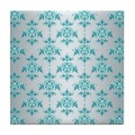 Teal Damask over Silvery Grey Tile Coaster