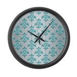 Teal Damask over Silvery Grey Large Wall Clock