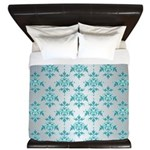 Teal Damask over Silvery Grey King Duvet