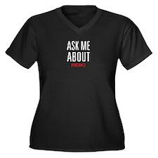 Ask Me About Reiki Women's Plus Size V-Neck Dark T