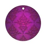 Vibrant Elegant Pink and Purple Damask Pattern Orn