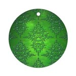 Bright Green Damask Pattern Ornament (Round)