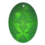Bright Green Damask Pattern Ornament (Oval)
