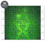 Bright Green Damask Pattern Puzzle