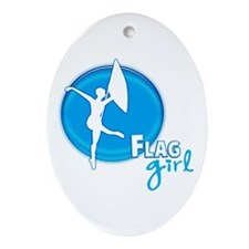 Flag Girl Oval Ornament