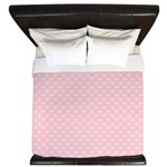 Pink and White Floral Damask King Duvet