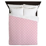 Pink and White Floral Damask Queen Duvet