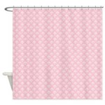 Pink and White Floral Damask Shower Curtain