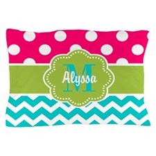 Pink Green Teal Chevron Personalized Pillow Case