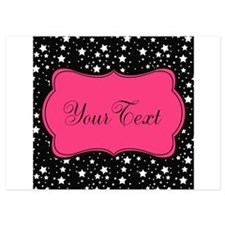 Personalizable Pink and Black Stars Invitations