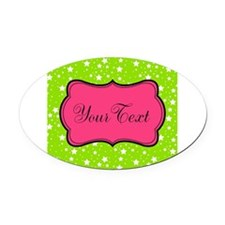Hot Green Stars and Pink Personalizable Oval Car M
