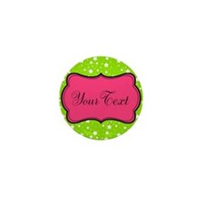 Hot Green Stars and Pink Personalizable Mini Butto