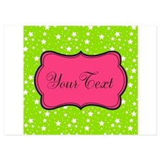 Hot Green Stars and Pink Personalizable Invitation