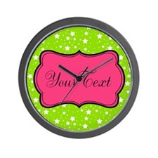 Hot Green Stars and Pink Personalizable Wall Clock