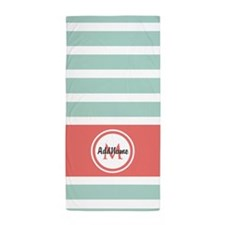 Mint and Coral Stripes Custom Monogram Beach Towel