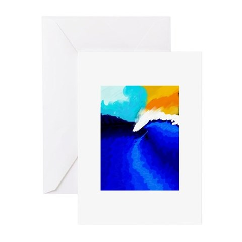 The Wave Long Greeting Cards