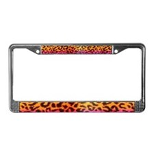 Rainbow Cheetah License Plate Frame