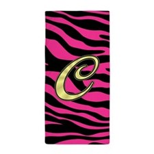 HOT PINK ZEBRA GOLD C Beach Towel