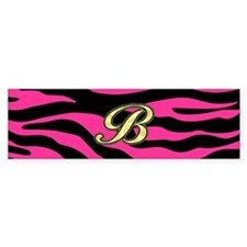HOT PINK ZEBRA GOLD B Bumper Bumper Sticker