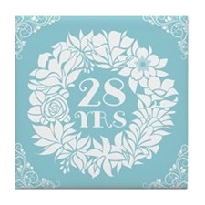 28th Anniversary Wreath Tile Coaster