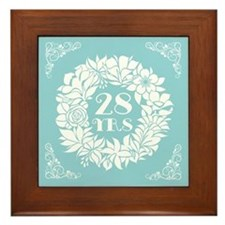 28th Anniversary Wreath Framed Tile