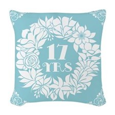 17th Anniversary Wreath Woven Throw Pillow
