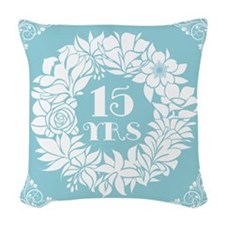 15th Anniversary Wreath Woven Throw Pillow