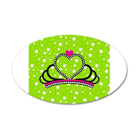 Princess Queen Crown on Green and White Stars Wall