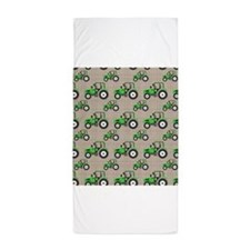 Green Tractor Pattern Beach Towel