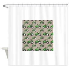Green Tractor Pattern Shower Curtain